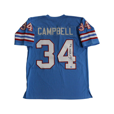 "Earl Campbell Houston Oilers Autographed Blue Oilers Jersey with ""HOF 91"" Inscription"