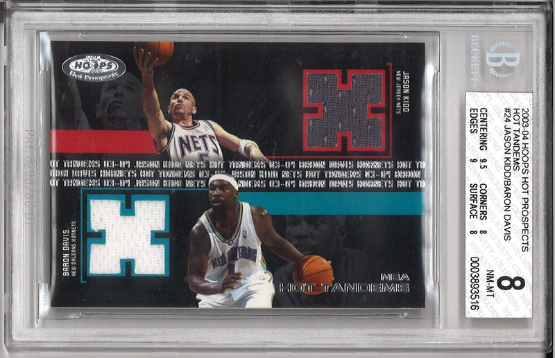 Jason Kidd/ Baron Davis 2003-04 Hoops Hot Prospects Game Used Jersey Trading Card