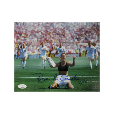 Brandi Chastain Team USA Autographed Iconic 1999 World Cup Celebration 8x10 Photograph - (JSA Authenticated)