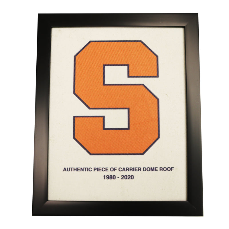 Syracuse University Authentic 11x14 Framed Piece of Carrier Dome Roof with Orange S Logo Imprinted