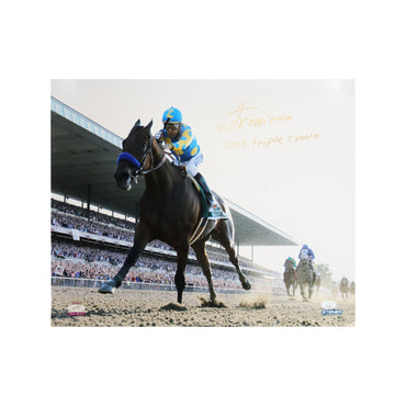 Victor Espinoza Autographed with 2015 Triple Crown Inscription 16x20 Photograph (JSA Authentication)