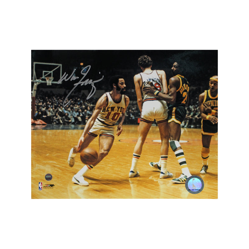 Walt Frazier New York Knicks Autographed New York Knicks vs. Seattle Supersonics 8x10 Photograph (Steiner Hologram Only)