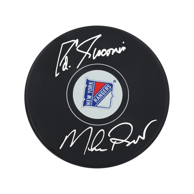 Eddie Giacomin/Mike Richter New York Rangers Dual Autographed New York Rangers Puck (Steiner Hologram Only)