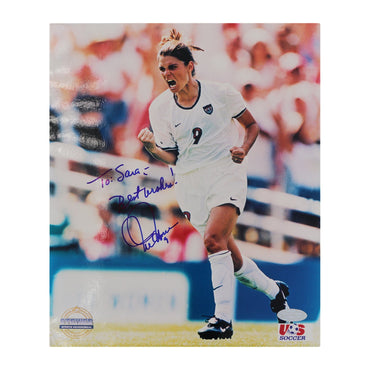 "Mia Hamm Team USA Autographed 8x10 Photograph Personalized ""To Sara"" (Steiner Hologram Only)"