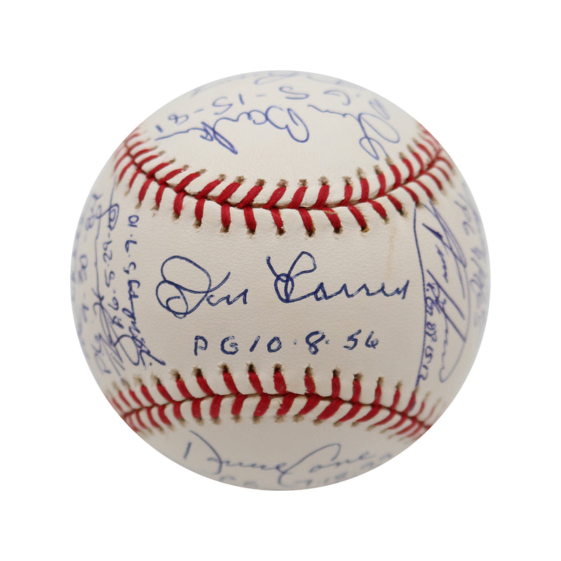 16 Perfect Game Pitchers Autographed and Inscribed OML Baseball Koufax, Halladay, Johnson, Martinez, Larsen, Barker- Beckett