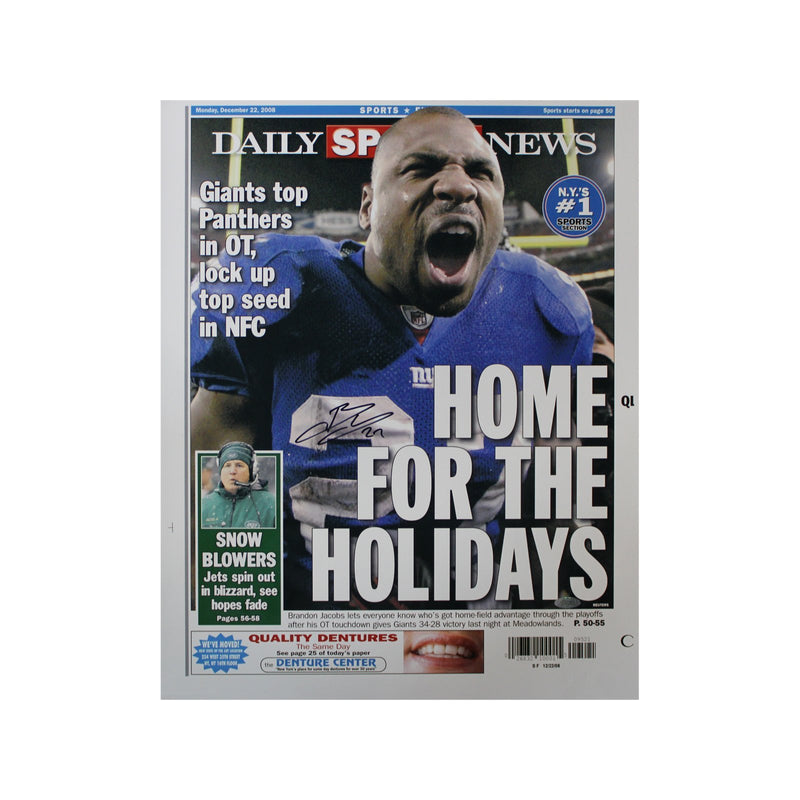 Brandon Jacobs New York Giants Autographed Replica Daily News 16x20 Cover Dated 12/22/08 (Steiner Hologram Only)