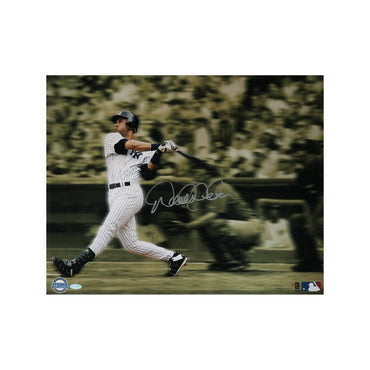 Derek Jeter Signed Sepia Toned Blurred Swing 16x20 Photo