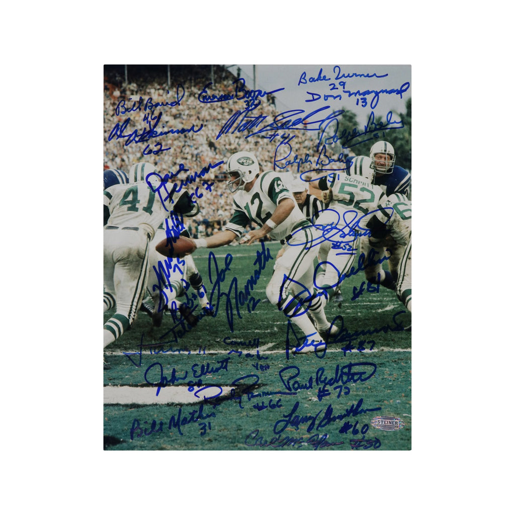 1969 New York Jets Team Autographed Super Bowl III Handoff 8x10 Photo (23 Signatures)