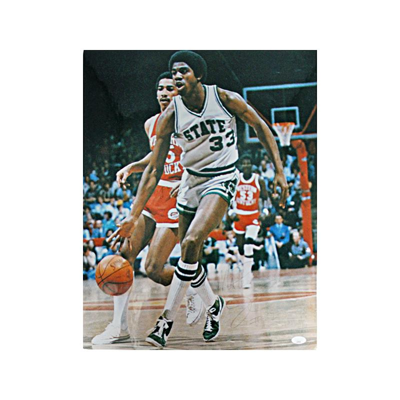 Magic Johnson Michigan State Autographed 16x20 Mounted Photograph - Faded Signature (JSA Auth)