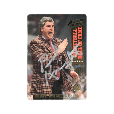 Bobby Knight Indiana University Autographed Action Packed Basketball Hall of Fame Trading Card - (JSA Authenticated)