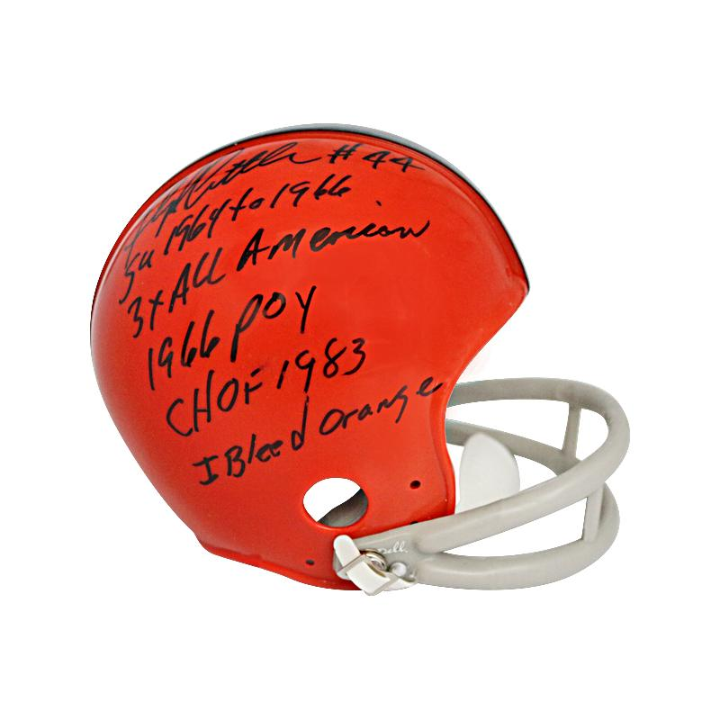 Floyd Little Autographed and Multi Inscribed Syracuse University Throwback Mini Helmet w/5 Inscriptions (PSA)