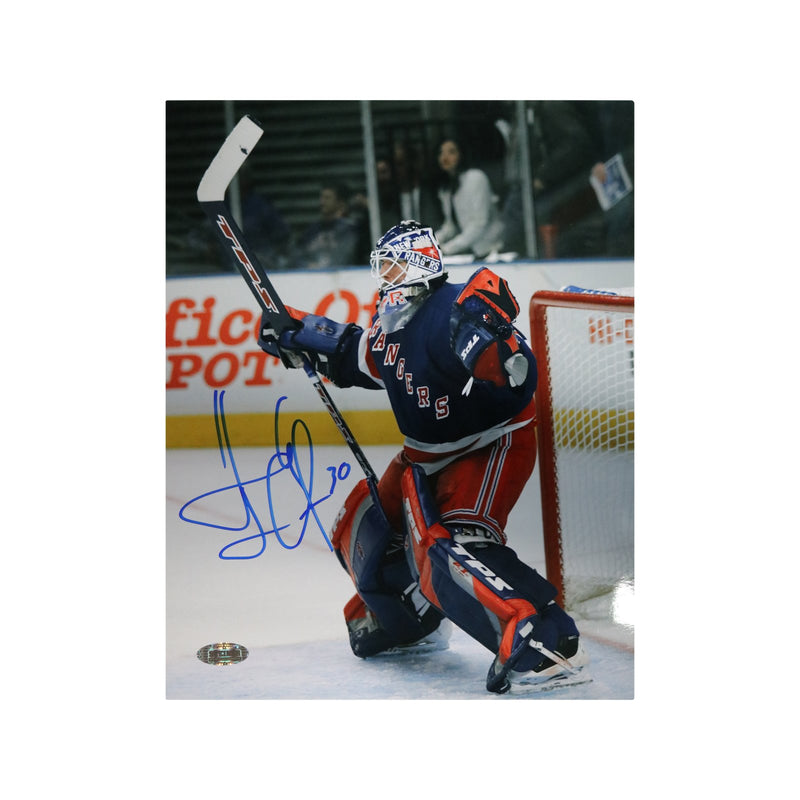 Henrik Lundqvist New York Rangers Autographed New York Rangers Blue Jersey Celebration 8x10 Photo (Steiner Hologram Only)