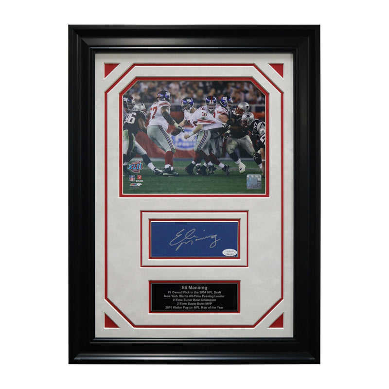 Eli Manning New York Giants Autographed and Framed Super Bowl 42 Escape Chit Collage - 17