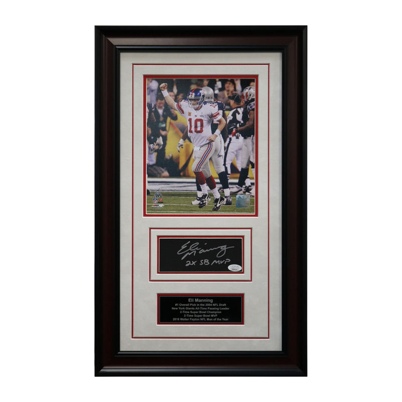 Eli Manning New York Giants Autographed and Framed 2x Super Bowl MVP Inscribed Chit Collage - 15