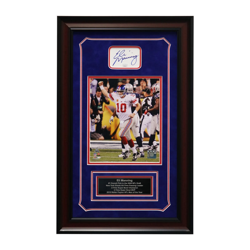 Eli Manning New York Giants Autographed and Framed Celebrating SB XLVI Victory Chit Collage - 15