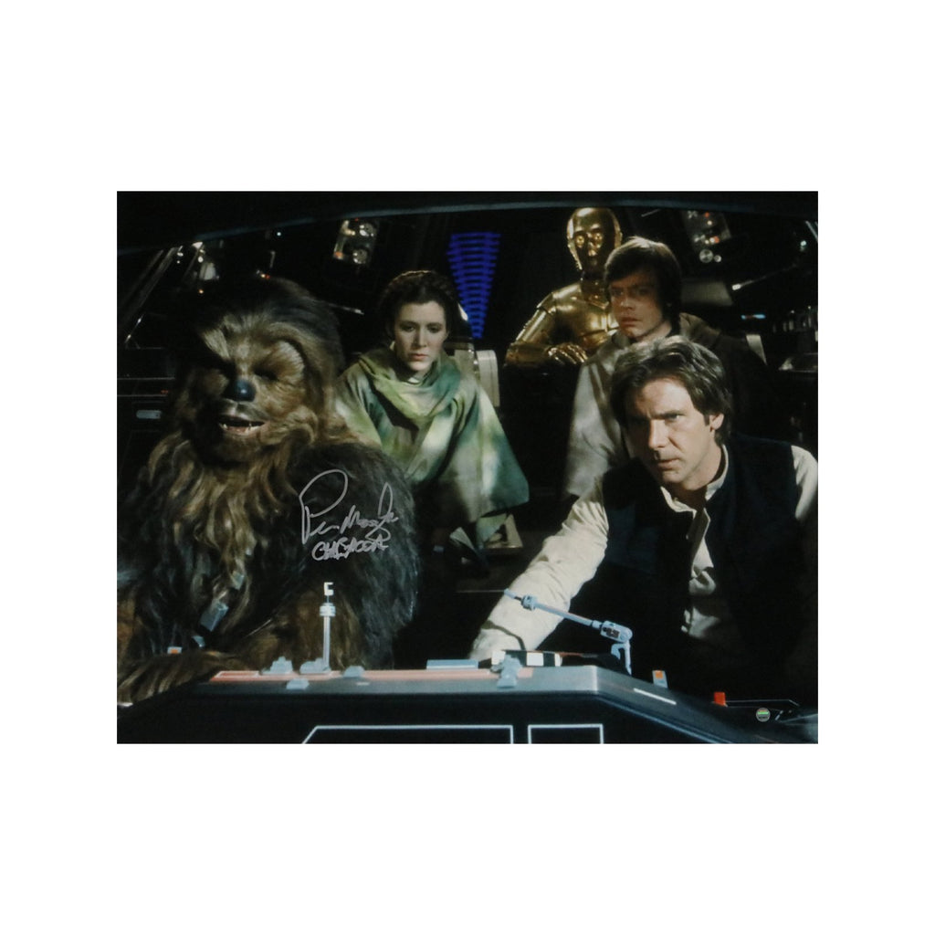 Peter Mayhew Autographed With Luke, Hann, Leia and C3PO with Chewbacca Inscription 16x20 Photograph (Steiner Authenticated)
