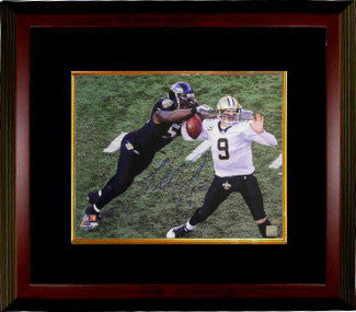 Terrell Suggs signed Baltimore Ravens 16x20 Photo Custom Framing sacking Drew Brees