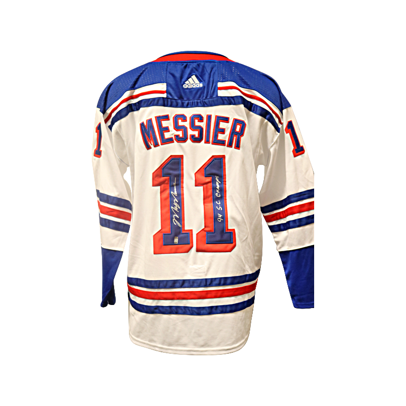 Mark Messier New York Rangers Autographed and Inscribed 94 SC Champs White Adidas Climalite Jersey (CX Auth)