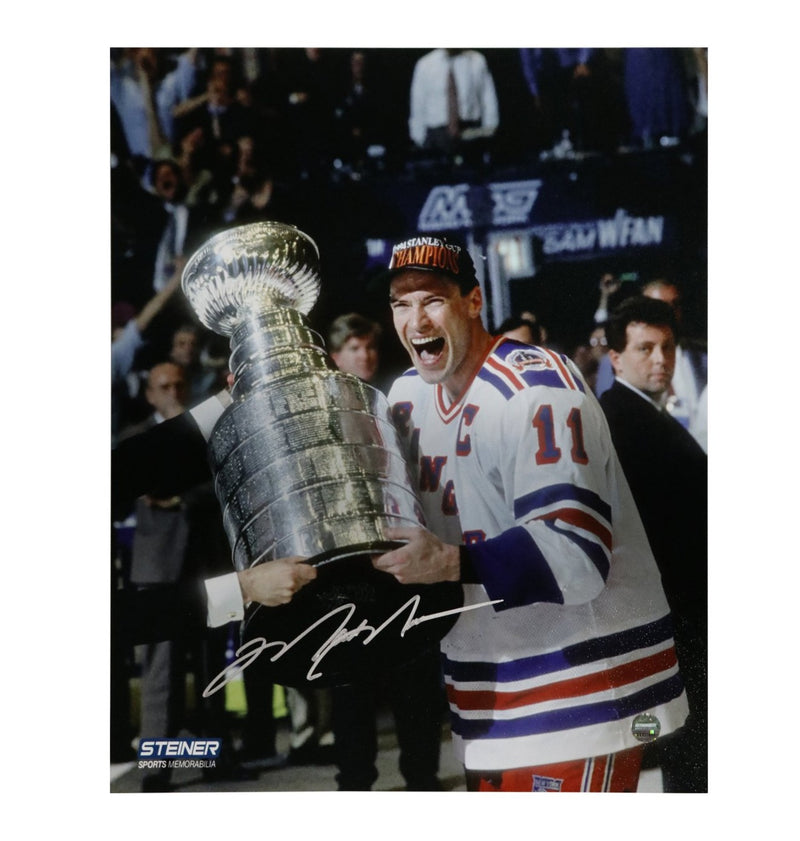 Mark Messier New York Rangers Autographed New York Rangers 1994 Stanley Cup on Side 8x10 Photo (Autographed In Silver) (Steiner Hologram Only)