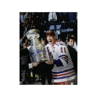 Mark Messier New York Rangers Autographed New York Rangers 1994 Stanley Cup on Side 8x10 Photo (Autographed In Blue)