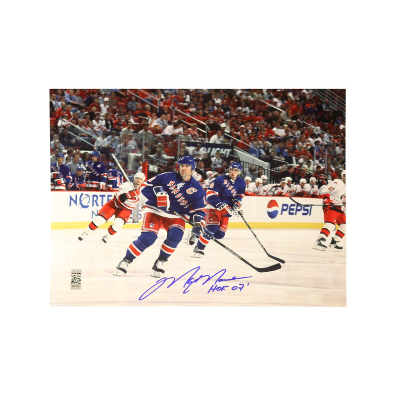 Mark Messier Autographed New York Rangers Skating vs. Carolina 8x10 Photograph w/