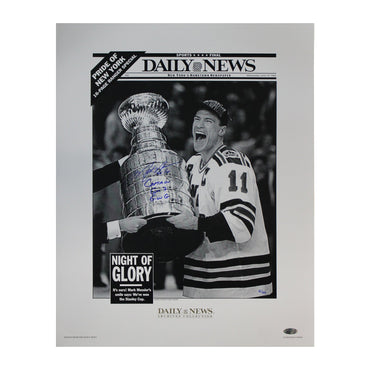 Mark Messier New York Rangers Autographed Black & White 6/15/94 Daily News Cover 16x20 Reprint with Captain, GM 7 GWG Inscription - Limited Edition of 50 (Steiner Hologram)