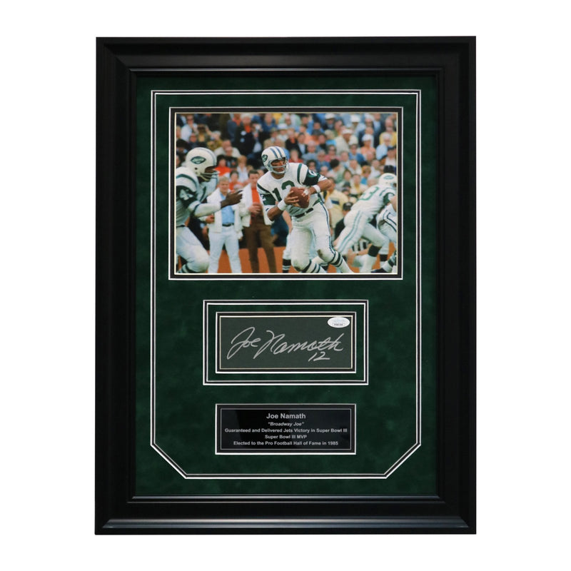 Joe Namath New York Jets Autographed and Framed Chit Collage - 17
