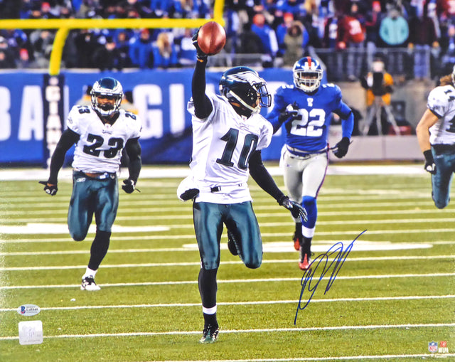 DeSean Jackson Autographed 16x20 Photo Philadelphia Eagles Miracle at the New Meadowlands Beckett BAS Stock #177654