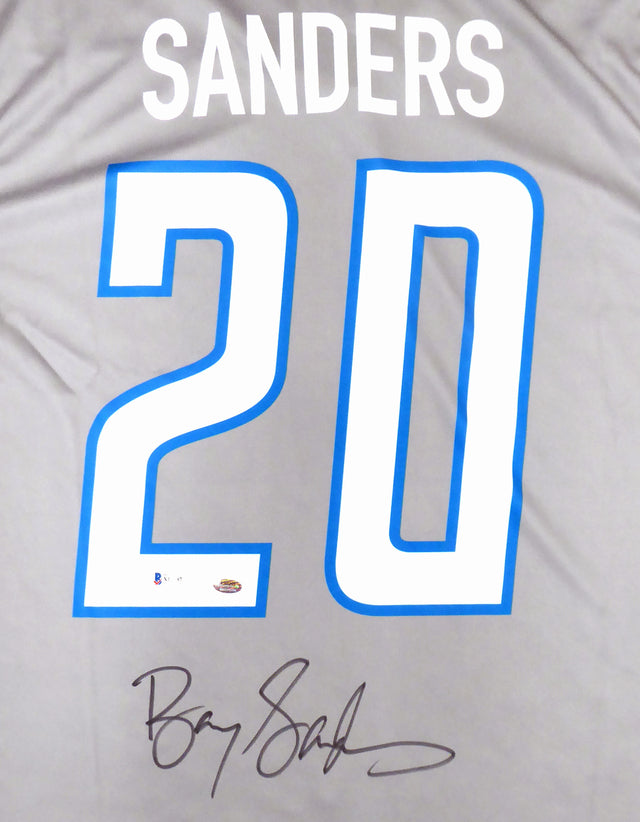Detroit Lions Barry Sanders Autographed Gray Nike Jersey Size XL Beckett BAS Stock #191117