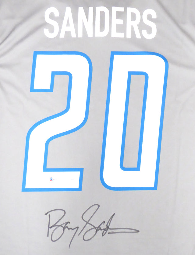 Detroit Lions Barry Sanders Autographed Gray Nike Jersey Size L Beckett BAS Stock #191118