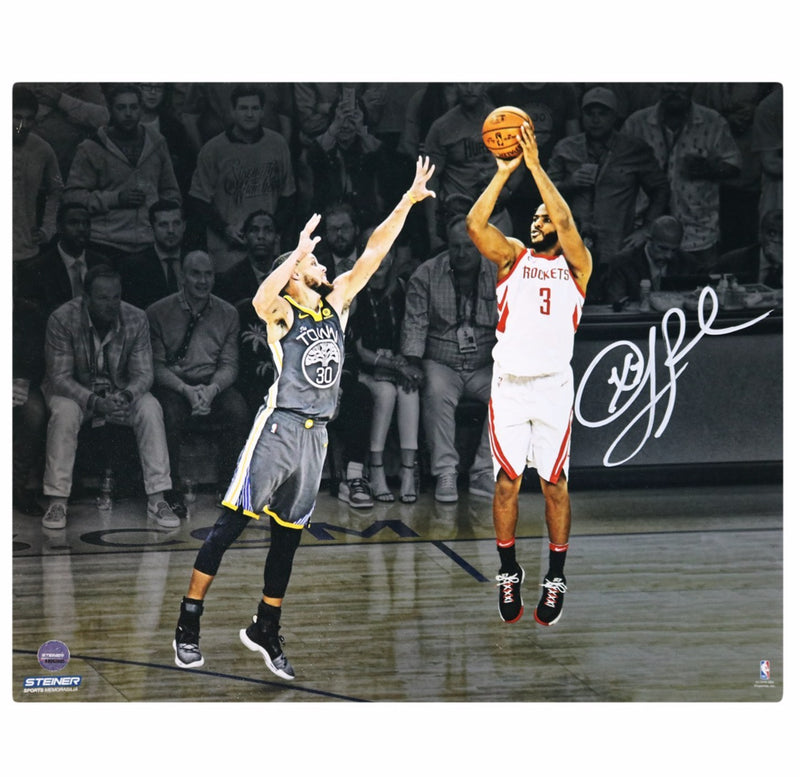 Chris Paul Houston Rockets Jumper over Steph Curry Autographed 8x10 Photo (Steiner Hologram Only)