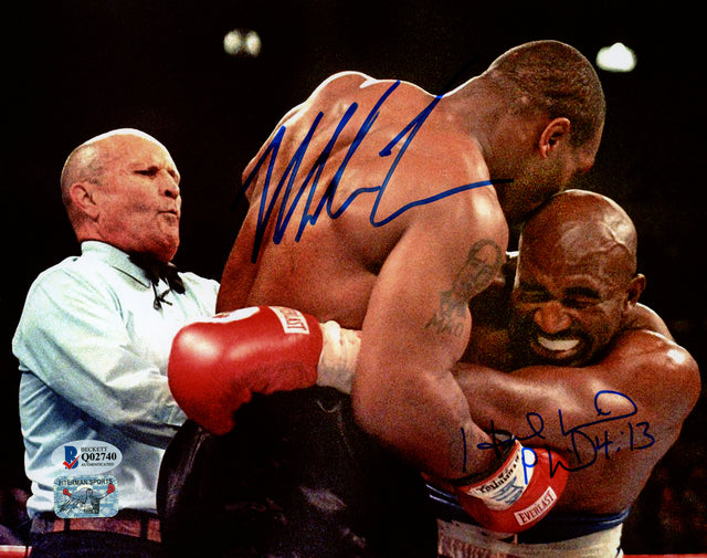 Mike Tyson & Evander Holyfield Autographed 8x10 Photo Bite Fight Beckett BAS Stock #155784