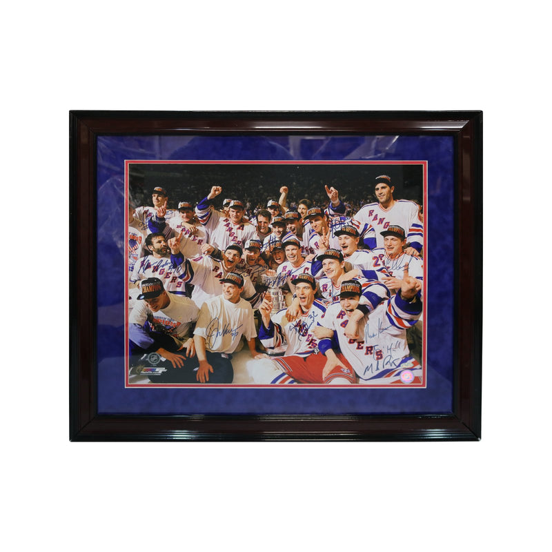 New York Rangers Autographed and 25x28 Framed 1994 Victory on Ice Canvas with 16 Signatures (Steiner Hologram Only)