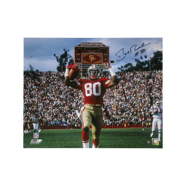 Jerry Rice San Francisco 49ers Autographed TD Celebration vs New England Patriots 16x20 Photograph (Steiner Authenticated)