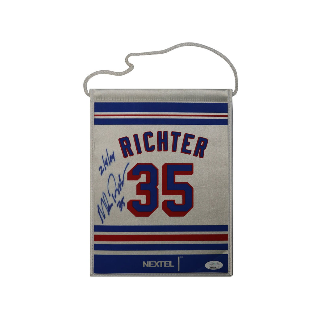 Mike Richter New York Rangers Autographed Mini Retirement Banner Flag with 2/4/04 Inscription (JSA Authentication)