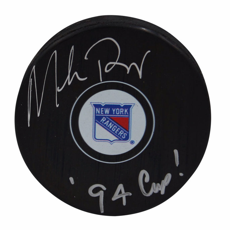Mike Richter New York Rangers Autographed Ranger Puck with 94 Cup Inscription (JSA Authentication)