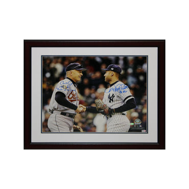 "Cal Ripken Jr./Derek Jeter Baltimore Orioles/New York Yankees Autographed Dual Autographed Shaking Hands 16x20 Framed Photo with ""1982 AL Rookie of the Year & 96 ROY"" Inscriptions"