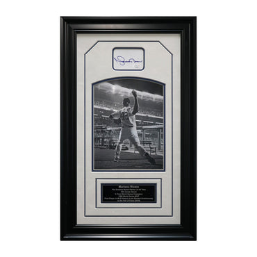 "Mariano Rivera New York Yankees Autographed and Framed Black & White Chit Collage - 15""x25"" Frame (JSA Authenticated)"
