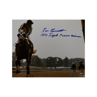 Ron Turcotte Autographed Riding Secretariat at Belmont Stakes 8x10 Photo with TC Inscription