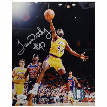 James Worthy Los Angeles Lakers Autographed Finger Roll vs. Nets 8x10 Photograph - (JSA Authenticated)