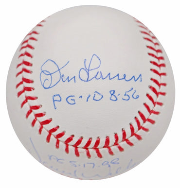 "Don Larsen/David Cone/David Wells New York Yankees Triple Autographed MLB Baseball with All 3 ""PG"" Inscription MLB Authenticated"