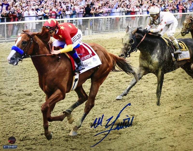 Mike Smith Riding Triple Crown Winner Justify at Belmont Autographed 8x10 Photograph (Steiner Hologram Only)