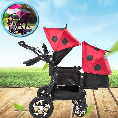 New Upgrade Twin Baby Strollers Can Sit Reclining High Landscape Folding Shock - Do Shopping
