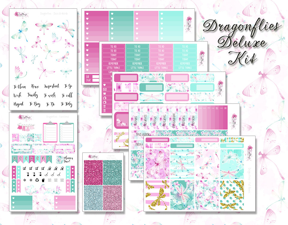 Dragonflies Planner Sticker Kit