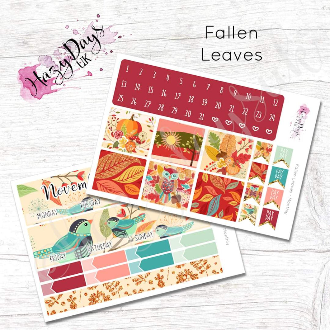 Fallen Leaves - Monthly Planner Stickers