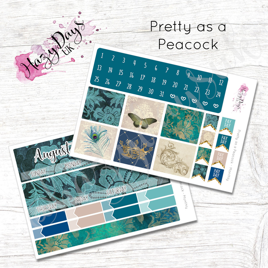Pretty as a Peacock - Monthly Planner Stickers