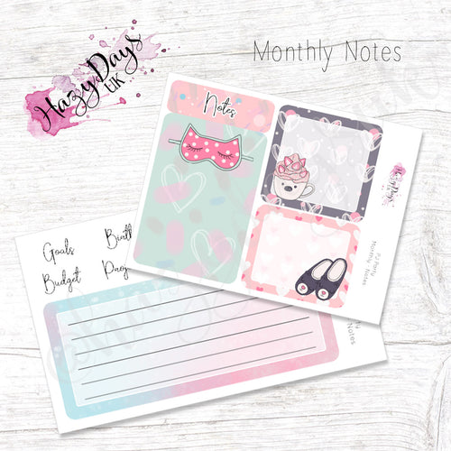 PJ Party - Monthly Note Pages