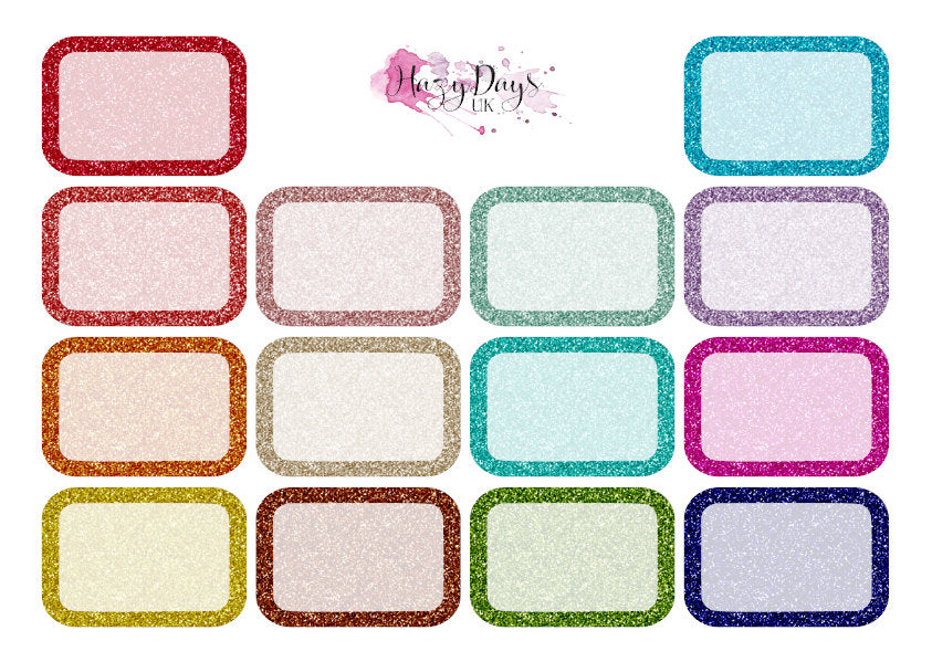 Glitter Effect Half Box Stickers