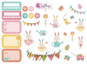 Easter Bunnies - 2 page sticker kit