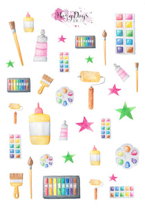 Arts & Crafts - Watercolour Decorative Planner Stickers